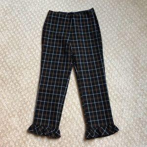High waisted ruffle pants